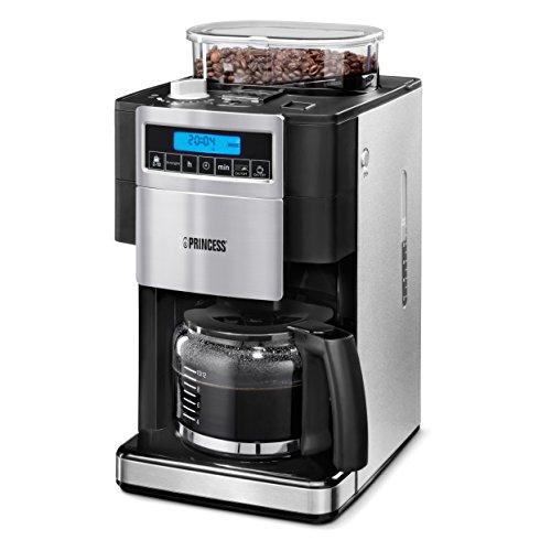 Princess 249402 Deluxe-Kaffeemaschine, integrierte Kaffeemühle/ -behälter für 250 Gramm, für 10...