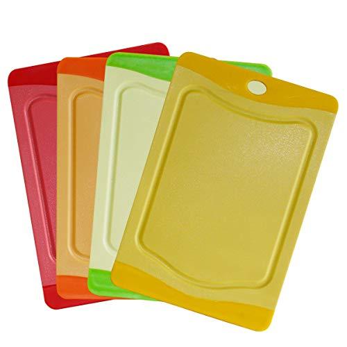 STONELINE® Schneidebrett-Set, 4-TLG, 20 x 14 cm, rot, orange, grün, gelb, Kunststoff, mit...