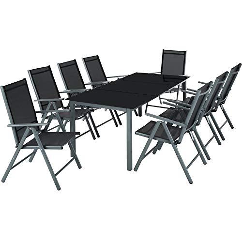 TecTake Aluminium Sitzgarnitur 8+1 Sitzgruppe Gartenmöbel Tisch & Stuhl-Set - Diverse Farben -...