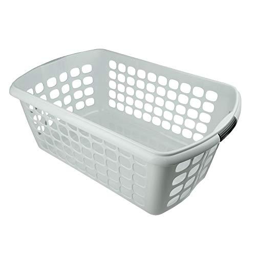HRB Wäschekorb Plastik (weiß), 44L Wäsche Box Volumen, Wäschesammler mit 59,5 x 39 x 23cm...