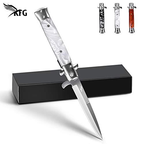 KFG Klappmesser Messer Taschenmesser mit Holzgriff Outdoor Messer aus Edelstahl £¬ Einhandmesser