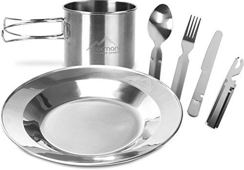 normani Camping Edelstahl Geschirrset Besteck + Teller + Tasse Farbe Silber