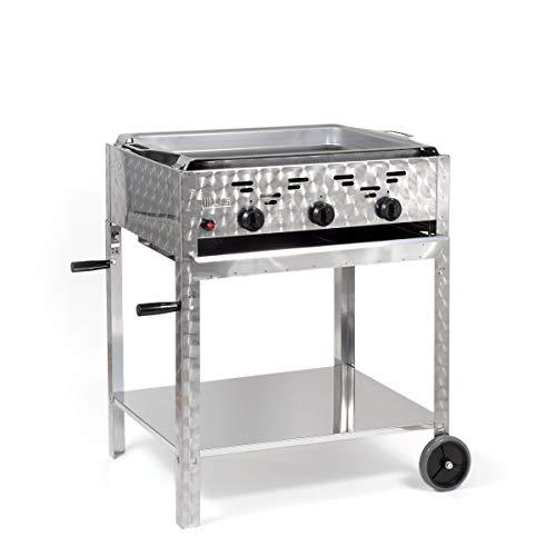 LAG Gasbräter 11 kW fahrbar mit Stahlpfanne 3-flammig Gasgrill Grill Gastrobräter Profigrill...