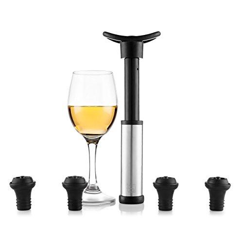 Blumtal Wein Vakuumpumpe mit 4 Stopfen - Weinflaschenverschluss für Lange Haltbarkeit,...