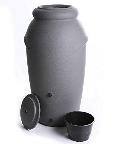 Regenwassertonne Regentonne Regenbehälter Regentank Amphore 210L 3 Farben Wasserhahn wählbar (Grau...