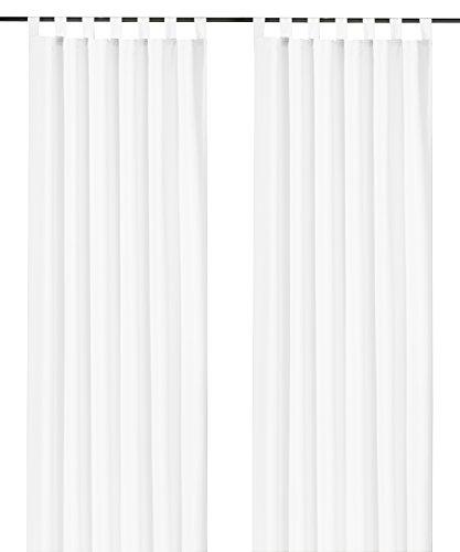heimtexland ® Dekoschal mit Schlaufen und Kräuselband uni in weiß HxB 245x140 cm BLICKDICHT aber...