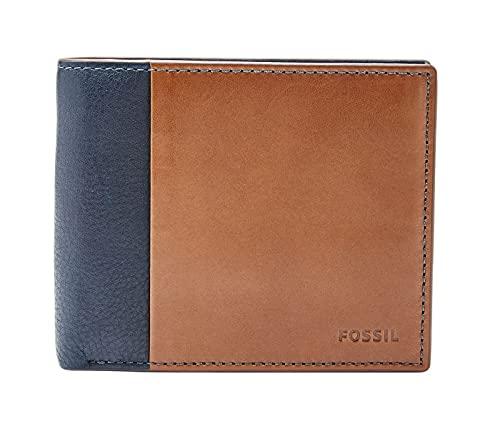 Fossil Mens Ward Travel Accessory-Bi-Fold Wallet, Blue, 11.43 cm L x 2.54 cm W x 9.53 cm H