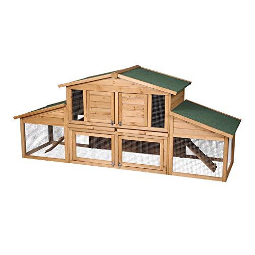 ELIGHTRY Hasenstall Kaninchenkäfig Kleintierhaus für Hasen Kaninchen Meerschweinchen 230x74x99cm