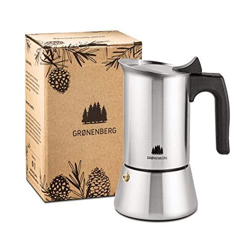 Groenenberg Espressokocher Induktion geeignet | Edelstahl | 4-6 Tassen Espressokanne | 200-300 ml...