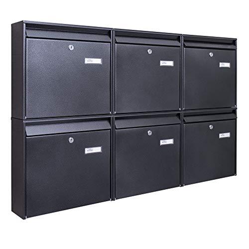 Burg-Wächter Briefkastenanlage 6 Fach | 108,6x64,4x10cm groß verzinkt Stahl anthrazit schwarz DIN...
