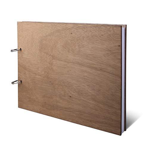 Gästebuch Okoume Holzcover inkl. 144 Naturpapier Seiten DIN A4 quer 302 x 215 mm - Blanko