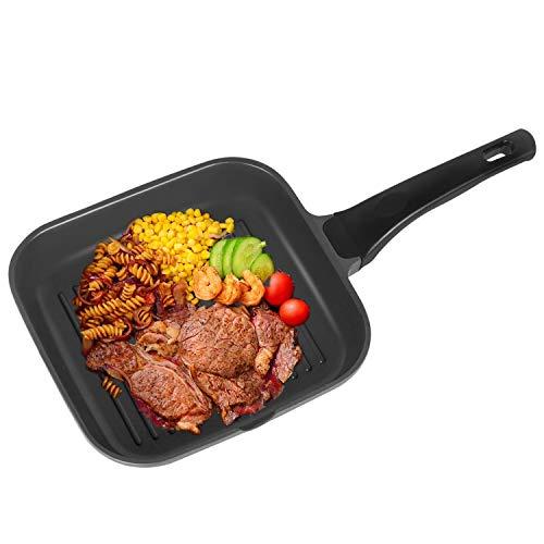 OZAVO Grillpfanne, Steakpfannen BBQ, 24x24x4.5cm antihaftversiegelt, induktionsgeeignet für Alle...