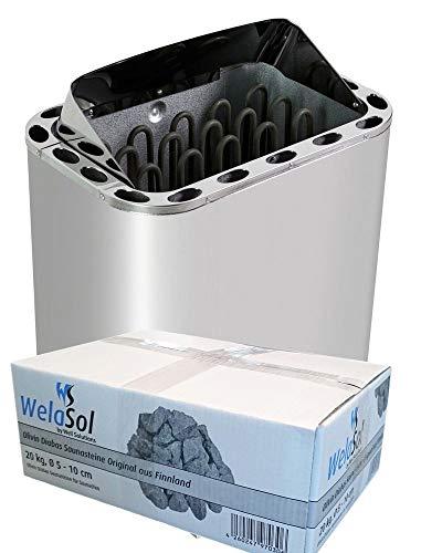 WelaSol Edelstahl Saunaofen Next von 8 kW | für finnische Sauna von 7-13 m³ | geeignet für...