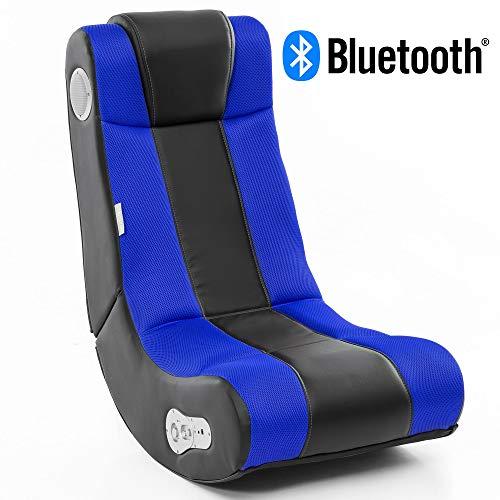 Wohnling® Soundchair in Schwarz Blau mit Bluetooth   Musiksessel mit eingebauten Lautsprechern  ...