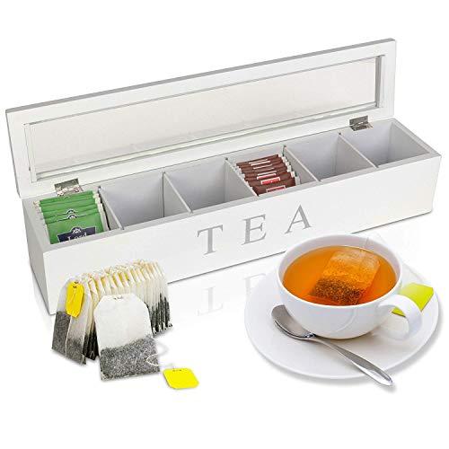 Oramics Teebox mit 6 oder 9 Fächern in Weiß oder Schwarz im edlen Holzdesign Teekiste Tee...