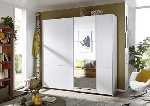 Rauch Möbel Santiago Schrank Schwebetürenschrank Weiß mit Spiegel 2-türig inkl. Zubehörpaket...