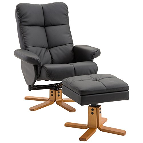 HOMCOM Relaxsessel Fernsehsessel 360° drehbarer Sessel mit Hocker Liegefunktion Holzgestell Schwarz...