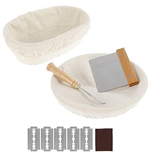 Gärkörbchen Rund & Oval 2er Set Gärkorb Rattan Bambuskorb für Brot und Brotteig Brotkorb mit...