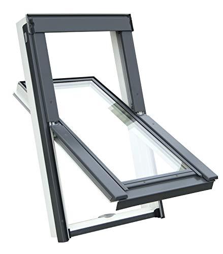 Kunststoff Dachfenster Balio Schwingfenster mit Eindeckrahmen und Rollo (Verdunkelungsrollo) 66x112...