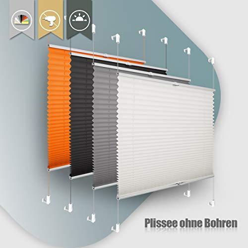 Plissee ohne Bohren klemmfix Jalousie Sonnenschutz Easyfix Faltrollo Crushed Optik Lichtdurchlässig...
