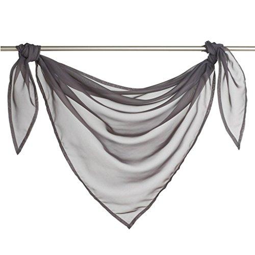 Querbehang Deko Gardinen aus transparentem Voile Triangle Schals L*B 200 * 100cm Grau