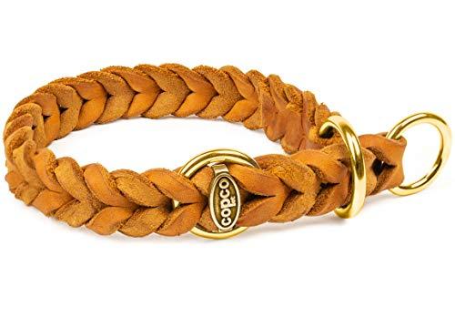 CopcoPet - Fettlederhalsband geflochten mit Messing Zugstop-Ring, Cognac 55-60 cm x 20 mm