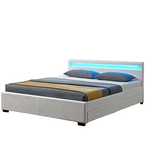 Juskys LED Polsterbett Lyon mit Bettkasten 140 x 200 cm – Bettgestell mit Lattenrost - Kunstleder...