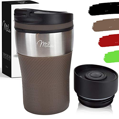 Milu Thermobecher Isolierbecher Kaffeebecher to go - 210ml 100% Auslaufsicher - Trinkbecher aus...