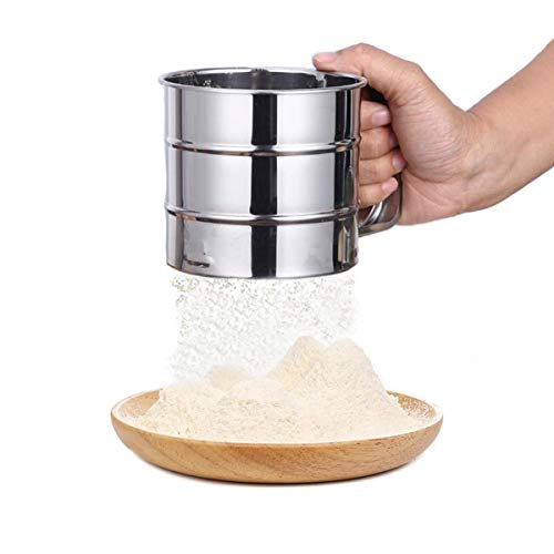 ZONSUSE Mehlsieb Einhand,Edelstahl-Mehlsieb,Küchensieb Feinsieb,Benutzt für Kokosmehl Paniermehl...