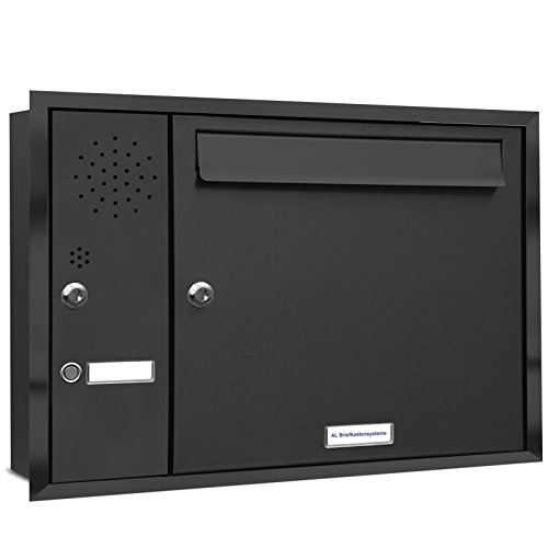 AL Briefkastensysteme, 1er Unterputzbriefkasten mit Klingel in Anthrazit Grau RAL 7016, 1 Fach...