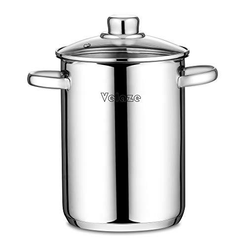 Velaze Pastatopf/Spargeltopf, Spargeltopf hoch mit Glasdeckel, Edelstahl poliert, Dampfgarer, Topf...
