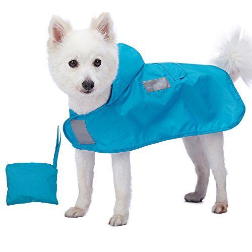Blueberry Pet 30cm Leichter Verstaubarer Kapuzen-Hunde-Regenmantel Poncho mit 3M...
