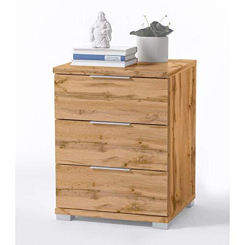 Universal Nachttisch in Wildeiche Optik - Moderner Nachtschrank mit drei Schubladen für Ihr...