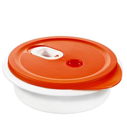 Rotho Micr Clever Mikrowellengeschirr 1l, Kunststoff (BPA-frei), Rot/Weiß, 1 Liter (20 x 20 x 6,5...