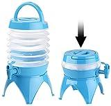 PEARL Wasserbehälter: Faltbares Fässchen, Auslaufhahn, Ständer, 3,5 Liter, blau/transparent...