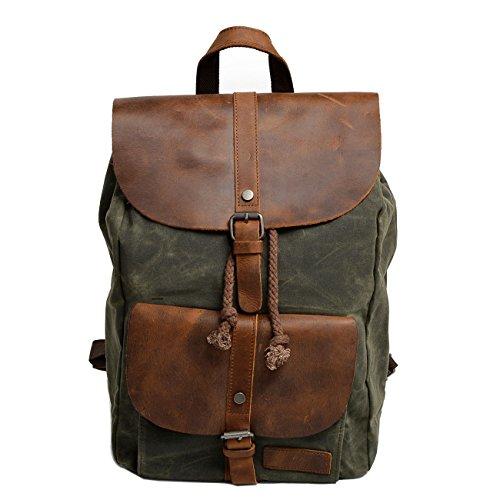 Neuleben Vintage Wasserdicht Rucksack Daypack aus Canvas Leder Damen Herren für Reise Outdoor...