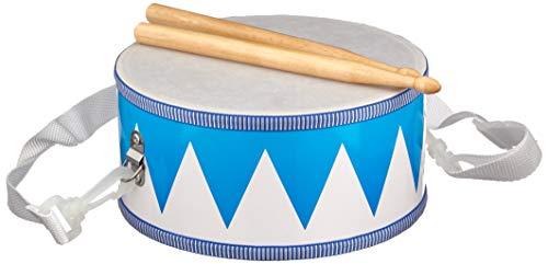 Goki 61898 Trommel aus Holz, blau/weiß