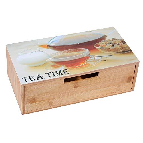 GRÄWE Teebox aus Bambus mit 10 Fächern, klappbarer Deckel, Sichtfenster, Teebeutelbox für...