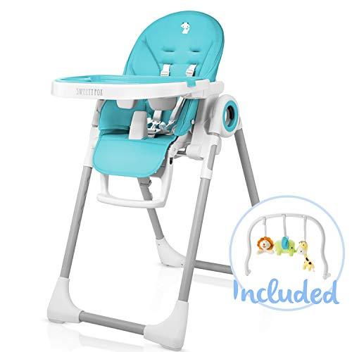 Mitwachsender Hochstuhl Baby, Verstellbar und Klappbar mit Spielbogen - 7 Höhen, Rückenlehne Kind...