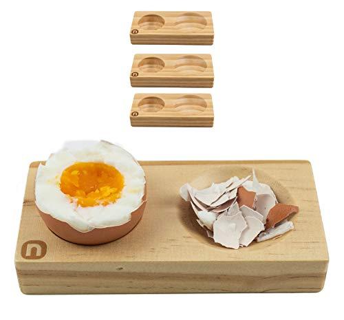 naturlik Eierbecher 4er Set aus hochwertigem Holz (Kiefer) | Praktisch: Nie mehr Eierschalenreste...
