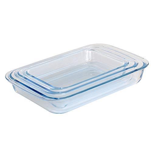 ProCook Ofenform aus Glas, rechteckige Auflaufformen, Set, 3-teilig