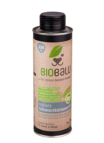 Biobalu Bio Schwarzkümmelöl 250 ml | Schwarzkümmelöl für Hunde & Pferde | Ergänzungsfutter zur...