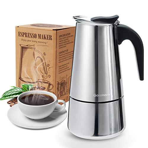 Godmorn Espressokocher, Kaffeekocher, Mokkakanne aus 430 Edelstahl, Espresso Maker für 4/6/10...
