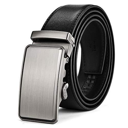 BOYOU Herren Ledergürtel mit automatischem Gürtelschnalle Gürtel für Männer Schwarz - 120cm