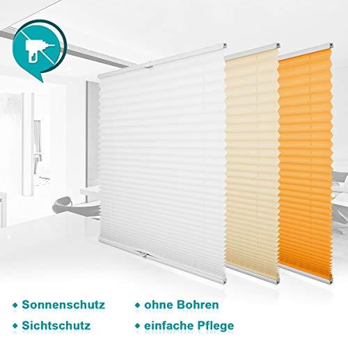Homland Plissee Rollos für Fenster und Tür ohne Bohren Weiß 35x130cm Plisseerollo Klemmfix...