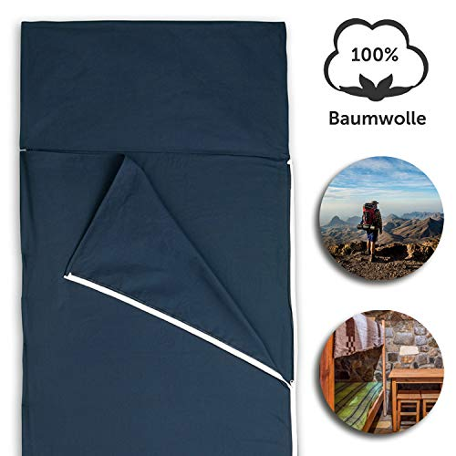 Hüttenschlafsack aus Baumwolle | Ultraleichter Baumwollschlafsack für Hostel oder Berghütte, auch...