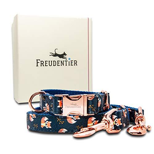 Freudentier® Hundehalsband & Hundeleine (2m) im Set | Inkl. Geschenkbox | Wundervolles Design |...