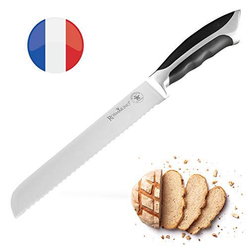 ROSMARINO Brotmesser mit Wellenschliff - Küchenmesser aus Spezialklingenstahl - Kochmesser mit...