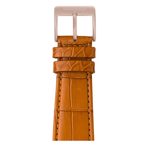 Alligator Leder Armband in Cognac - Gold Alu. (Series 3 - 6) - 38 / 40 mm