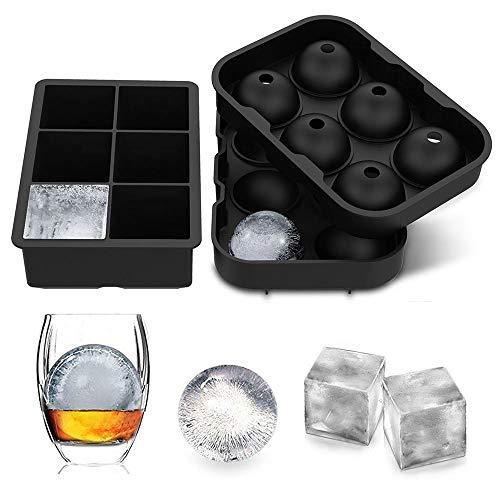 LessMo 2 Stk. Eiswürfelform, Silikon Kugel Eiswürfelschale mit Deckel und großen quadratischen...